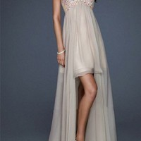 Charming Sweetheart High low Sequin Top Nude Chiffon Prom Dress