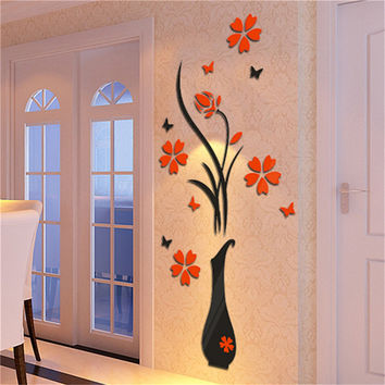 Hot Sticker Home Decoration 3D Flower Vase Wall Stickers Entrance Sticker Home Decor Wall Decal