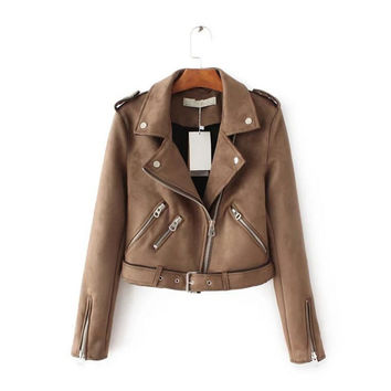 Suede leather jacket ladies leather coat slim fit