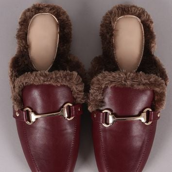 Vegan Leather Horsebit Ornament Fur Lined Slip-On Mules