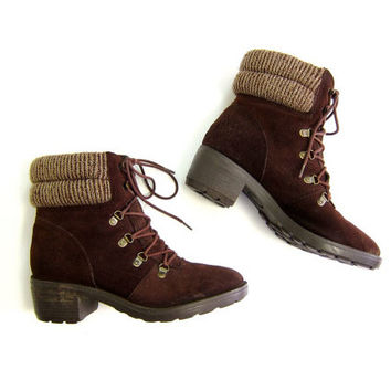 80s SWEATER BOOTS Brown Suede Knit Cuff Ankle Booties Brown Leather Fall Boots Lace Up Chunky Winter Boots Womens BOHO Boots Size 8