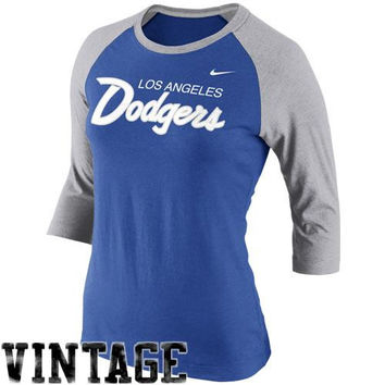 Nike L.A. Dodgers Cooperstown Collection Three-Quarter Sleeve Tri-Blend T-Shirt - Royal Blue/Gray