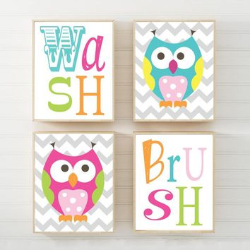 OWL BATHROOM Decor, Girl Owl Theme Bathroom Canvas or Prints, Whimsical Owls, Sister Brother Boy Girl Shared Bath Wash Brush Rules, Set of 4
