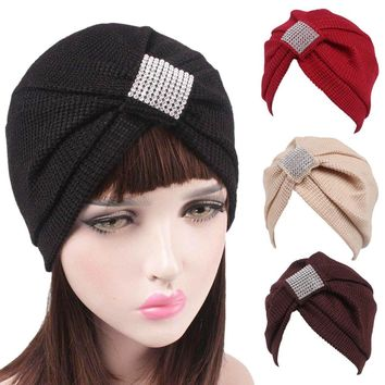 Women Hat Scarf Turban Head Wrap Cap 6 Colors Beanie Female Fashion Skullies Casual Outdoor Hat