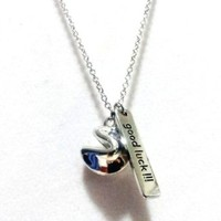 Finely Crafted Clear Silver Plated Lucky Fortune Cookie Shape Pendant Necklace -- 16-18'' inches