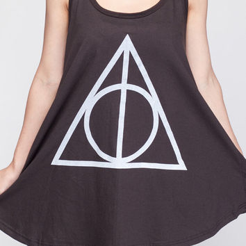 Deathly Hallows T Shirt Dress Harry Potter Movie Symbol Top Women Shirts Black Tunic T-Shirt Sleeveless Vest Mini Dresses Size M L