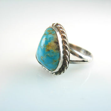 Vintage Navajo Turquoise Ring Brilliant Color Gemstone Sterling Silver Size 8 Handmade Signed N N 1960s Native American Statement Jewelry