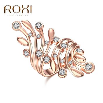 ROXI Fashion Women Ladies Rings Leaf Jewelry New Luxury White Zircon Finger Ring Party Wedding Gift