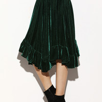 Dark Green Asymmetric Ruffle Skirt