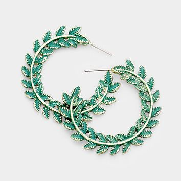 "1.50"" patina leaf hoop earrings pierced boho wreath"
