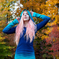 Hand Dyed Ombre CUSTOM COLOR Long Hoodie Dress