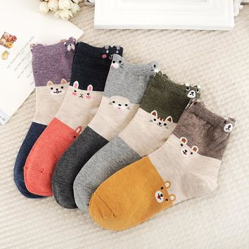 Candy Colors Kawaii Animal Socks Funny Crazy Cool Novelty Cute Fun Funky Colorful