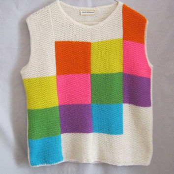Vintage 60s  MOD COLOR Block Knit Shell SWEATER Minimalist Eames Era Bust