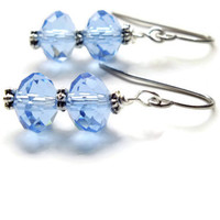 Light Blue Earrings, Czech Surgical Steel Earrings, Faceted Earrings