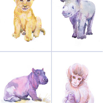 Artist Trading Cards, Set of 9 Signed Art Prints Watercolor Painting ACEO Jungle Safari Baby Animals ATC Giclee Collectible Card Watercolour