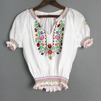 1960's Hungarian Peasant Blouse Flapper Style - M :
