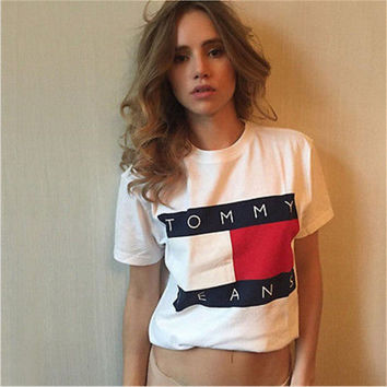 Fashion Casual Multicolor Letter Print Short Sleeve T-shirt Round Neck Shirt Top Tee