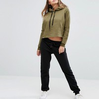South Beach Cropped Khaki Hoodie at asos.com
