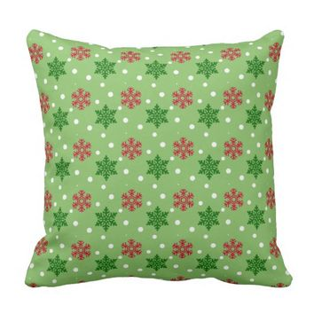 Red and Green Snowflakes w/White Snow Throw Pillow