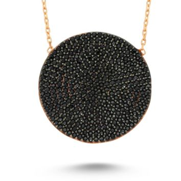 Amorium Black Circle Disk Necklace in Rose Gold