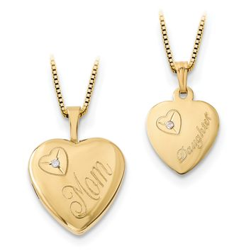 14k Yellow Gold Plated Sterling Silver Mom and Daughter Diamond Heart Pendant Necklace Set