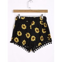 Sunflower Printed Elastic Waist Pom Pom Trim Shorts