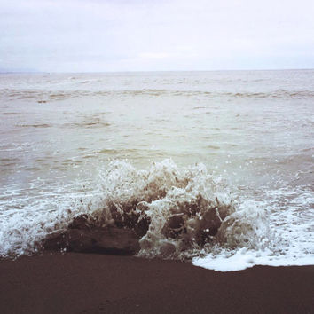 Nature Photography | Ocean Photo | Waves | Neutral | Cream | Sand | Pacific Ocean | Beach | Minimal Photography | Oregon Coast