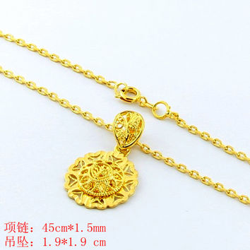 24K GP Gold Plated Necklace Mens Women Yellow Gold Golden Jewelry Necklace YHDN 33 MP