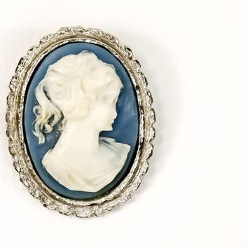Cameo Brooch  - Cameo Blue Brooch  - Silver Brooch  - Vintage Brooch  - Gift for her - Mom Gift - Fashionista Gift
