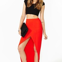 Nasty Gal Undercover Maxi Skirt - Red