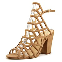 Vince Camuto Vince Camuto Naveena Women Open-Toe Leather Tan Heels   Bluefly.Com