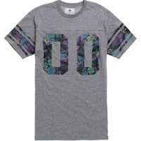 On The Byas Ted Floral Print Jersey T-Shirt - Mens Tee - Gray -