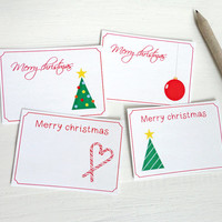 Small christmas cards printable gift tags set of four merry christmas mini cards digital download