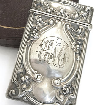 Antique Victorian Era Sterling Silver Match Case, Ornate Repousse, Monogramed, English Hallmarks, Pocket Match Case, Vesta, Tobacciana, Gift