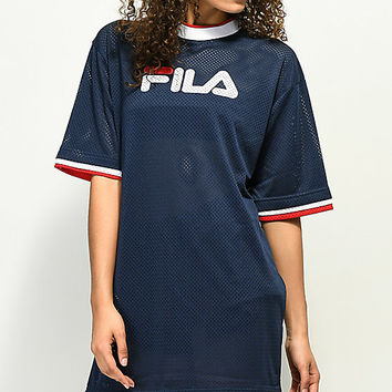 FILA Drew Navy Mesh Dress | Zumiez
