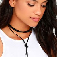 Rock N Rose Stevie Silver and Black Leather Wrap Necklace