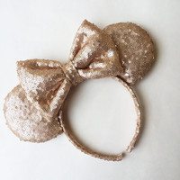 Champagne Gold Sequin Minnie Mouse Ears