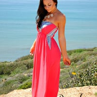 CARRIED AWAY MAXI DRESS IN CORAL
