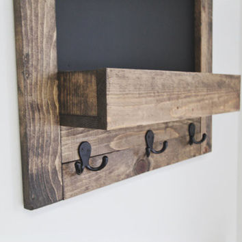 Entryway Rustic Framed Chalkboard and Organizer 30x20""