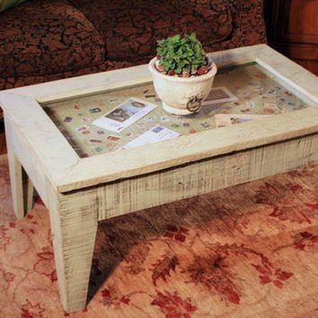 Display Coffee Table with Glass Top, Reclaimed Wood, Rustic Contemporary, Distressed Bayberry Green Finish - Handmade