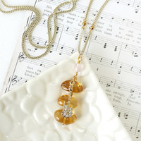 Rich Vivid Yellow Citrine Gemstones Pendant with Electric Guitar Charm, Music Necklace