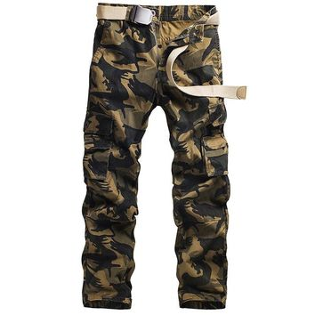 Multi Pockets Camouflage Men Military Uniforms Overalls Loose Leisure Trousers Cotton Slacks Cargo Large Mens Casual Trousers