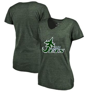 High Quality Summer Fashion Women's Jets Fans T-Shirt, New Design New York Style Aeroplane Logo Picture Printing V-neck T Shirt