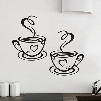 New Arrival Trebdy Mural Beautiful Design Decal Kitchen Restaurant Cafe Tea Wall Stickers Art Vinyl Coffee Cups Stickers Wall De
