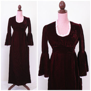 1960s Dress / VINTAGE / Renaissance / Oxblood / Velvet / Maiden / Medieval / Maxi Dress / 60s