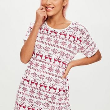 Missguided - White snowflake printed Night T-shirt