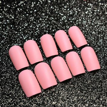Hot Peach Pink Matte Acrylic Nails Medium Full Cover Flat Fake Nail Art Tips Easy DIY Design Kit for Finger Makeup Tool Z467
