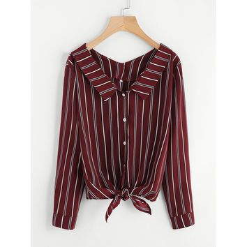 Vertical Striped Knotted Hem Shirt
