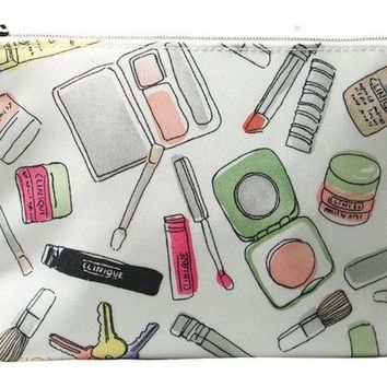 New Clinique Cosmetic Print Makeup Bag
