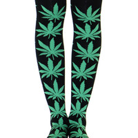 BLACK/GREEN PLANTLIFE KNEE SOCKS